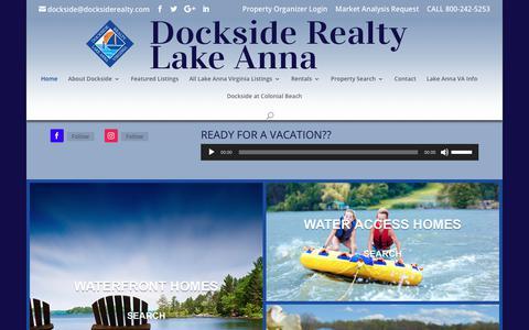 Screenshot of Home Page docksiderealty.com - Lake Anna Real Estate - Dockside Reaty   Lake Anna Realty Services - captured Nov. 6, 2018