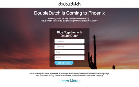 Screenshot of Landing Page doubledutch.me - DoubleDutch is Coming to Phoenix - captured April 20, 2016
