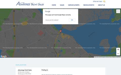 Screenshot of Maps & Directions Page advantageyachtsales.com - Our Location | Advantage Yacht Sales | Dealer for Hunter, Beneteau, Gemini, Fountaine Pajot Sailboats & Used Boats - captured Sept. 25, 2018