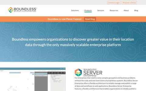 Screenshot of Products Page planet.com - Boundless Open Source Products for Geospatial Solutions - Planet Federal - captured March 14, 2019