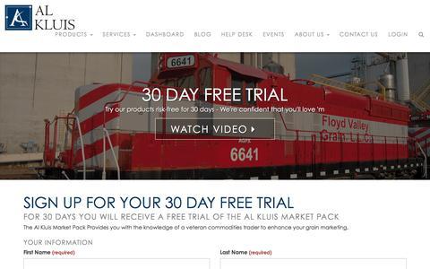 Screenshot of Trial Page alkluis.com - Al Kluis - 30 Day Free Trial - captured Nov. 27, 2016