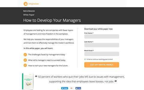 Screenshot of Landing Page impraise.com - White Paper: How to Develop Your Managers - captured Jan. 12, 2018