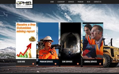 Screenshot of Home Page ophirmri.com - OphirMRI   OPHIR Mining Resources & Investment - captured Feb. 16, 2016