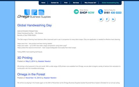 Screenshot of Blog omegaofficesuppliesltd.co.uk - Global Handwashing Day | Omega Business Supplies - captured Oct. 7, 2014