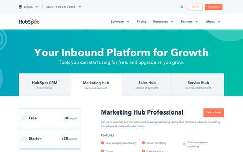 Screenshot of Pricing Page hubspot.com - Marketing Pricing - captured June 21, 2018