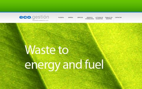 Screenshot of Home Page ecogestion.net - Ecogestion | Waste to energy and fuel - captured Oct. 1, 2014