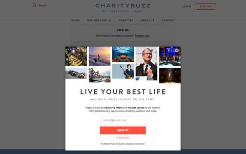 Screenshot of Login Page charitybuzz.com - Charitybuzz: Log in to Your Account - captured March 20, 2019