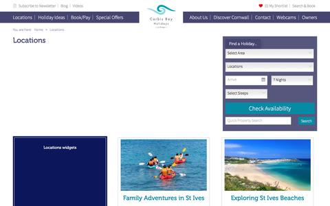 Screenshot of Locations Page carbisbayholidays.co.uk - Holiday Locations in Cornwall | Carbis Bay Holidays - captured May 14, 2017