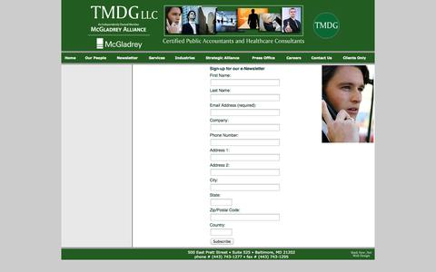 Screenshot of Signup Page tmdgllc.com - TMDG—Homepage—Certified Public Accountants and Healthcare Consultants - captured Oct. 7, 2014
