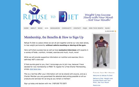 Screenshot of Signup Page refusetodiet.com - Membership, the Benefits & How to Sign Up - Refuse To Diet - captured Oct. 7, 2014