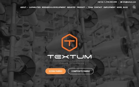 Screenshot of Home Page textum.com - Manufacturer & Supplier of Scrim and Composite fabrics in USA | Textum - captured Nov. 18, 2018
