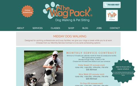 Screenshot of Services Page thewagpack.com - The Wag Pack Midday Dog Walking and  Pet Sitting: Services and Rates - captured Dec. 23, 2016