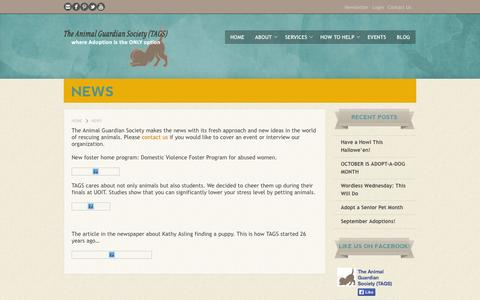 Screenshot of Press Page animalguardian.org - News | Animal Guardian - captured Oct. 26, 2014