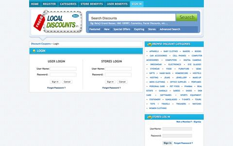 Screenshot of Login Page freelocaldiscounts.in - Local Discounts, Free Discounts, Discount Coupons, Shopping Coupons | Hyderabad's FIRST Discount Bazaar - captured March 30, 2016