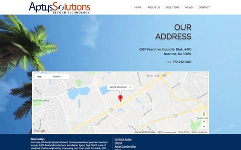 Screenshot of Maps & Directions Page aptyssolutions.com - Aptys Solutions | MAP - captured July 30, 2018