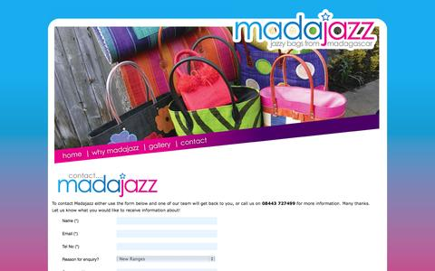 Screenshot of Contact Page madajazz.co.uk - Contact MadaJazz - Jazzy Bags from Madagascar - Jane Lynch - captured Sept. 30, 2014