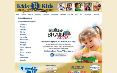 Screenshot of Locations Page kidsrkids.com - Kids 'R' Kids - captured Oct. 6, 2014