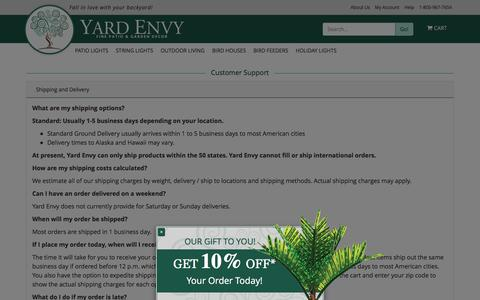Screenshot of Privacy Page Support Page yardenvy.com - Bird Houses, Bird Feeders, Adirondack Chairs, Sundials, and Hammocks - Yard Envy - Yard Envy - captured Dec. 21, 2015