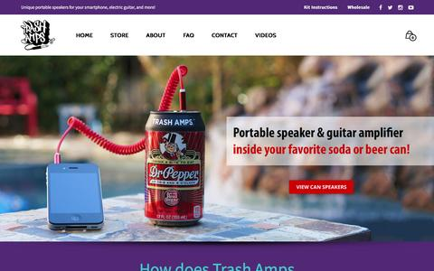 Screenshot of Home Page trashamps.com - Trash Amps | Portable Speakers made out of everyday objects for your smartphone and electric guitar! - captured Feb. 23, 2016