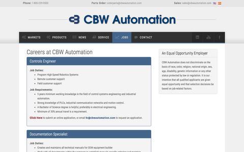 Screenshot of Jobs Page cbwautomation.com - CBW Automation - The Future of Automation - captured May 11, 2017