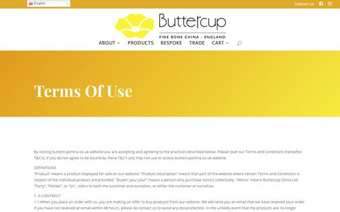 Screenshot of Terms Page buttercupchina.co.uk - Terms of Use | Buttercup - captured Aug. 4, 2018