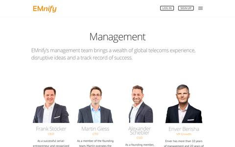 Screenshot of Team Page emnify.com - Meet the leaders and managers of our company | EMnify - captured July 15, 2018