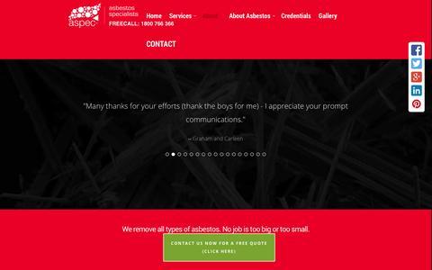 Screenshot of Testimonials Page aspecpty.com.au - Removal of Asbestos South East Queensland - captured Oct. 4, 2014
