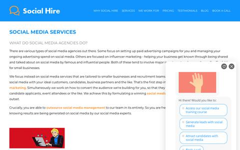 Screenshot of Services Page social-hire.com - Social Media Services | Social Hire - captured May 30, 2019