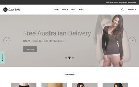 Screenshot of Home Page o2wear.com - Bamboo Clothing - O2wear Australia - Women's Bamboo Basics - captured June 10, 2017