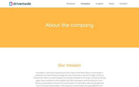 Screenshot of About Page drivemode.com - About the company – Drivemode - captured Dec. 6, 2018