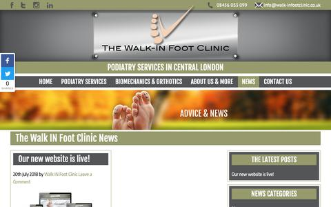 Screenshot of Press Page walk-infootclinic.co.uk - NEWS - Podiatry Services in Central London | Walk In Foot Clinic on K - captured Oct. 20, 2018