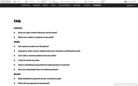 Screenshot of FAQ Page deciem.com - DECIEM | Faq - captured Jan. 16, 2019