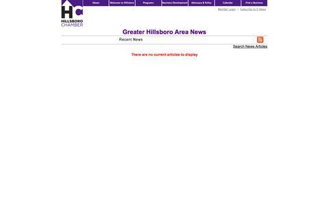 Screenshot of Press Page hillchamber.org - Greater Hillsboro Area  News | Greater Hillsboro Area | Hillsboro Chamber of Commerce | Hillsboro, OR - captured Oct. 8, 2014