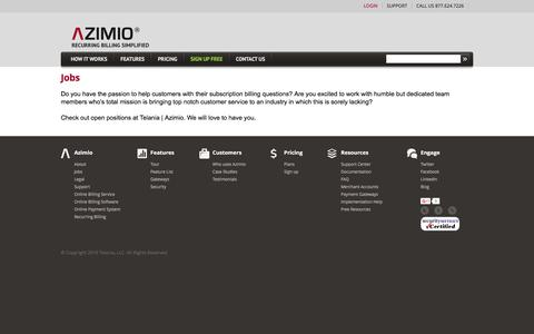 Screenshot of Jobs Page azimiosystems.com - Azimio Billing System - captured March 7, 2016