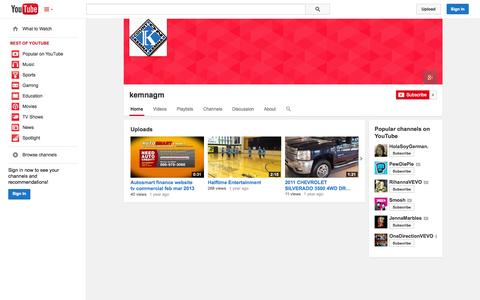 Screenshot of YouTube Page youtube.com - kemnagm  - YouTube - captured Oct. 23, 2014
