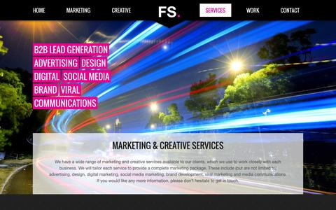 Screenshot of Services Page flyingsaucercreative.com - Marketing Services, Creative Services, Design, Digital, Brand - captured Oct. 6, 2014