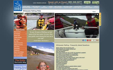 Screenshot of FAQ Page oars.com - Whitewater Rafting Questions and Answers; Rafting FAQs; Whitewater River Rafting Tips - captured Sept. 19, 2014