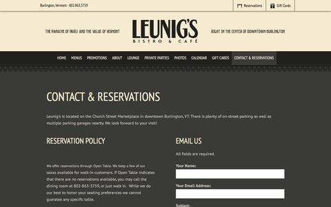 Screenshot of Hours Page leunigsbistro.com - Contact & Reservations | Leunig's Bistro & Café | Burlington, VT - captured June 17, 2016