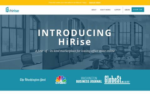 Screenshot of About Page hirise.com - HiRise: The first transactional marketplace for leasing office space online. - captured Jan. 29, 2016