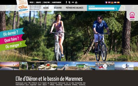Screenshot of Home Page ile-oleron-marennes.com - Ile d'Oléron Tourisme, Site Officiel de l'ile d'Oléron | Oleron - captured Sept. 19, 2014