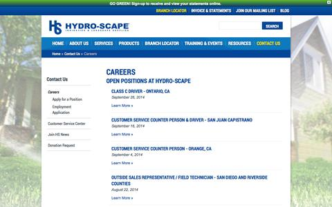 Screenshot of Jobs Page hydroscape.com - Careers at Hydro-Scape - Jobs at Hydro-Scape | HYDRO-SCAPE - captured Oct. 3, 2014