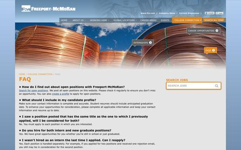Screenshot of FAQ Page fmjobs.com - Frequently Asked Questions   Careers at Freeport-McMoRan - captured Feb. 10, 2016