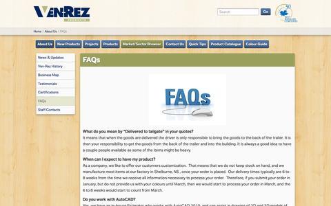 Screenshot of FAQ Page ven-rez.com - FAQs   Ven Rez   Ven-Rez - captured Feb. 14, 2016