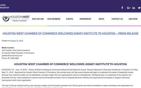 Screenshot of Blog hwcoc.org - Chamber News - Houston West Chamber of Commerce - captured Sept. 26, 2018