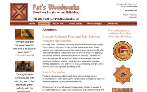 Screenshot of Services Page patswoodworks.com - Services – Pat's Woodworks - captured July 10, 2019