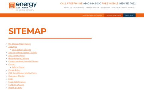 Screenshot of Site Map Page energy-alliance.co.uk - Sitemap — Energy Alliance - captured July 19, 2018
