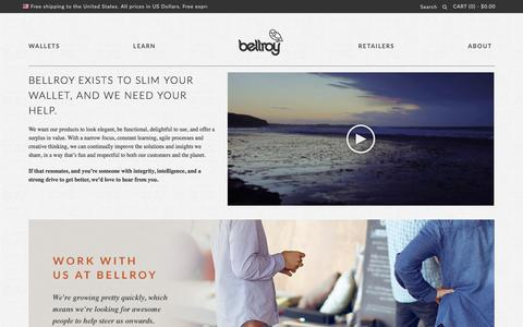 Screenshot of Jobs Page bellroy.com - Bellroy Jobs - Slim Leather Wallets by Bellroy - captured Oct. 29, 2014