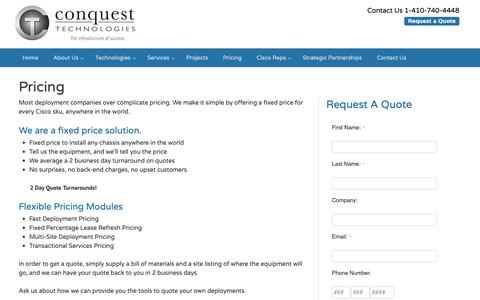 Screenshot of Pricing Page conquesttechnologies.com - Pricing - Conquest Technologies - captured Sept. 29, 2018