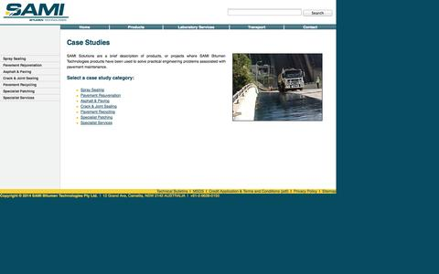 Screenshot of Case Studies Page sami.com.au - Case Studies - Sami Bitumen Technologies - captured Oct. 4, 2014