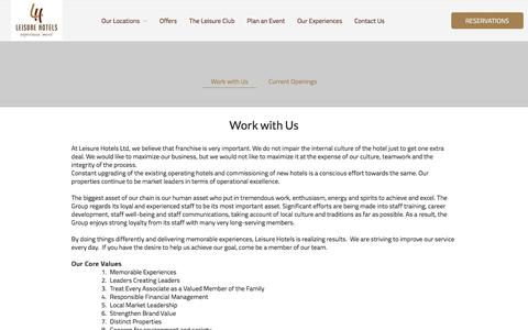 Screenshot of Jobs Page leisurehotels.co.in - Work with Us | Hotel Franchise in Uttarakhand | Leisure Hotels - captured Aug. 1, 2017